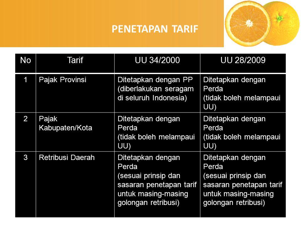 enny, 2008 NoTarifUU 34/2000UU 28/2009 1Pajak ProvinsiDitetapkan dengan PP (diberlakukan seragam di seluruh Indonesia) Ditetapkan dengan Perda (tidak