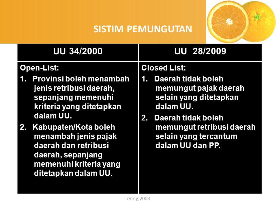 enny, 2008 NoTarifUU 34/2000UU 28/2009 1Pajak ProvinsiDitetapkan dengan PP (diberlakukan seragam di seluruh Indonesia) Ditetapkan dengan Perda (tidak boleh melampaui UU) 2Pajak Kabupaten/Kota Ditetapkan dengan Perda (tidak boleh melampaui UU) Ditetapkan dengan Perda (tidak boleh melampaui UU) 3Retribusi DaerahDitetapkan dengan Perda (sesuai prinsip dan sasaran penetapan tarif untuk masing-masing golongan retribusi) Ditetapkan dengan Perda (sesuai prinsip dan sasaran penetapan tarif untuk masing-masing golongan retribusi) PENETAPAN TARIF