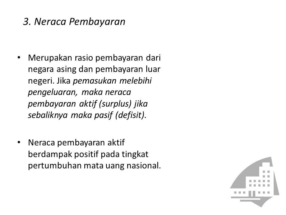3. Neraca Pembayaran Merupakan rasio pembayaran dari negara asing dan pembayaran luar negeri. Jika pemasukan melebihi pengeluaran, maka neraca pembaya