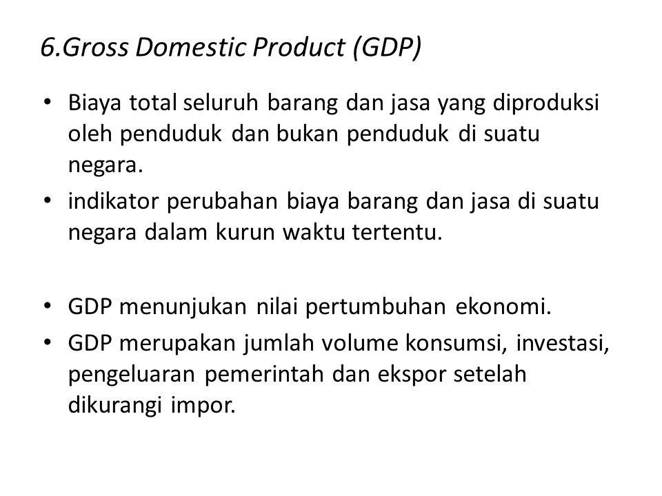 6.Gross Domestic Product (GDP) Biaya total seluruh barang dan jasa yang diproduksi oleh penduduk dan bukan penduduk di suatu negara. indikator perubah