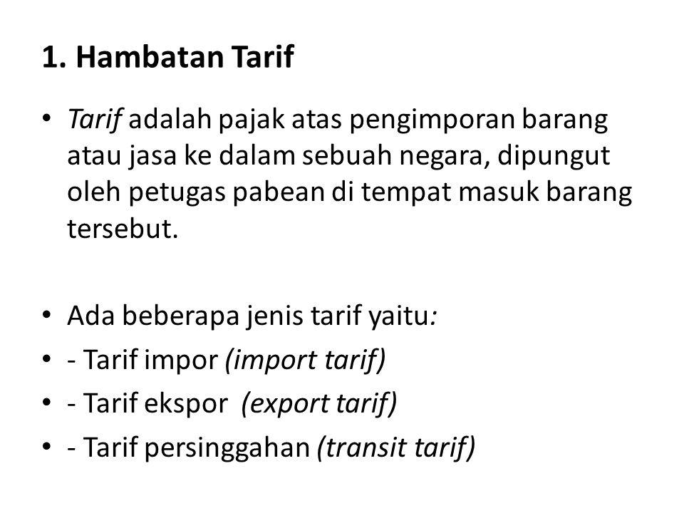 1. Hambatan Tarif Tarif adalah pajak atas pengimporan barang atau jasa ke dalam sebuah negara, dipungut oleh petugas pabean di tempat masuk barang ter