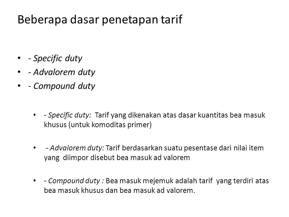Beberapa dasar penetapan tarif - Specific duty - Advalorem duty - Compound duty - Specific duty: Tarif yang dikenakan atas dasar kuantitas bea masuk k