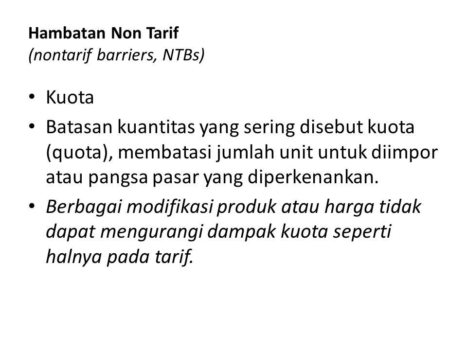 Hambatan Non Tarif (nontarif barriers, NTBs) Kuota Batasan kuantitas yang sering disebut kuota (quota), membatasi jumlah unit untuk diimpor atau pangs