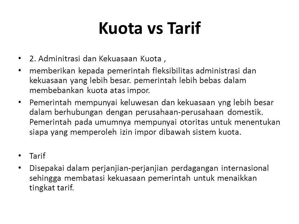 Kuota vs Tarif 2. Adminitrasi dan Kekuasaan Kuota, memberikan kepada pemerintah fleksibilitas administrasi dan kekuasaan yang lebih besar. pemerintah
