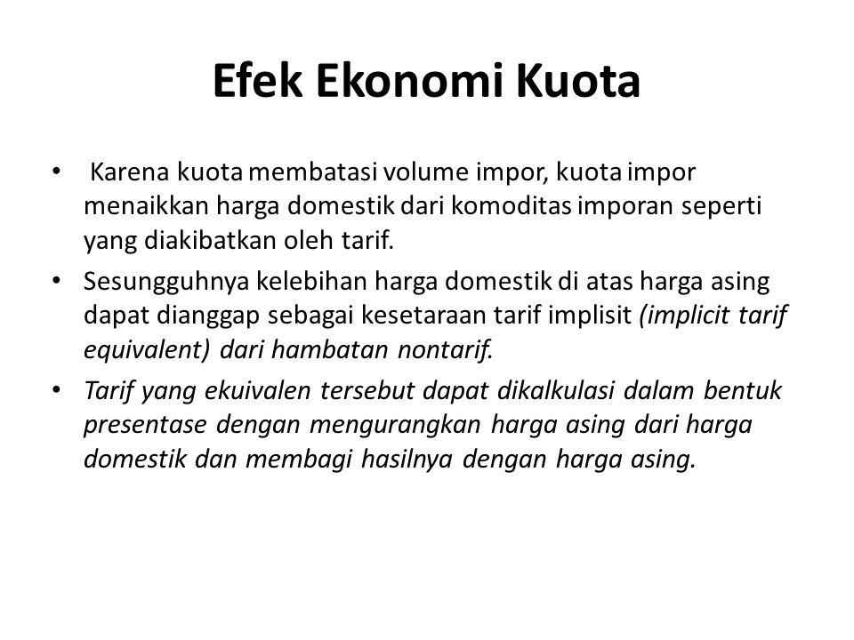 Efek Ekonomi Kuota Karena kuota membatasi volume impor, kuota impor menaikkan harga domestik dari komoditas imporan seperti yang diakibatkan oleh tari