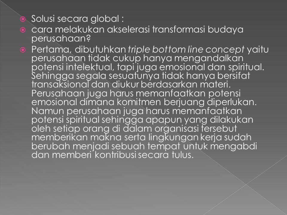  Solusi secara global :  cara melakukan akselerasi transformasi budaya perusahaan.