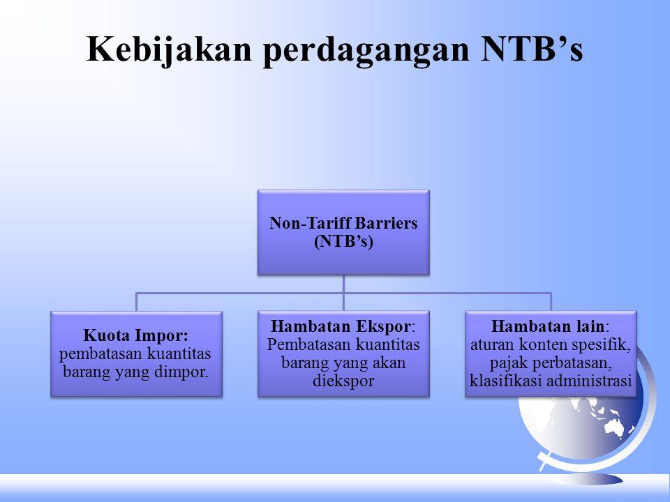 Kebijakan perdagangan NTB's Non-Tariff Barriers (NTB's) Kuota Impor: pembatasan kuantitas barang yang dimpor.