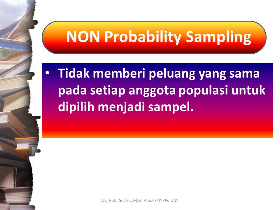 NON Probability Sampling Dr. Putu Sudira, M.P. Prodi PTK PPs UNY Tidak memberi peluang yang sama pada setiap anggota populasi untuk dipilih menjadi sa