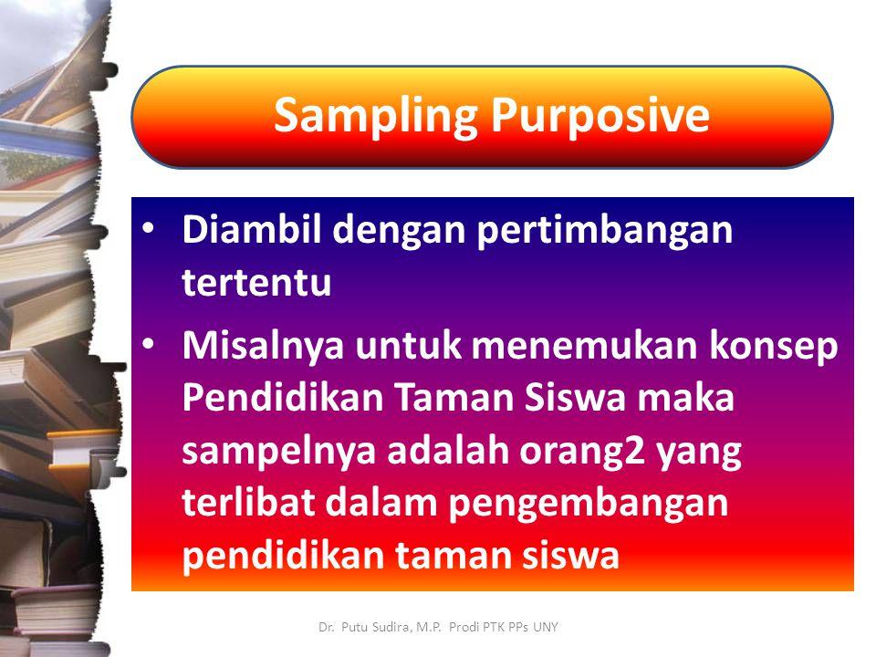Sampling Purposive Dr. Putu Sudira, M.P. Prodi PTK PPs UNY Diambil dengan pertimbangan tertentu Misalnya untuk menemukan konsep Pendidikan Taman Siswa