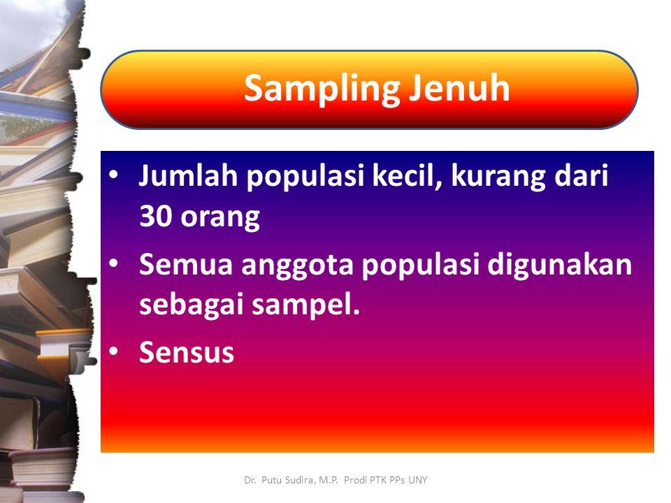 Sampling Jenuh Dr. Putu Sudira, M.P. Prodi PTK PPs UNY Jumlah populasi kecil, kurang dari 30 orang Semua anggota populasi digunakan sebagai sampel. Se