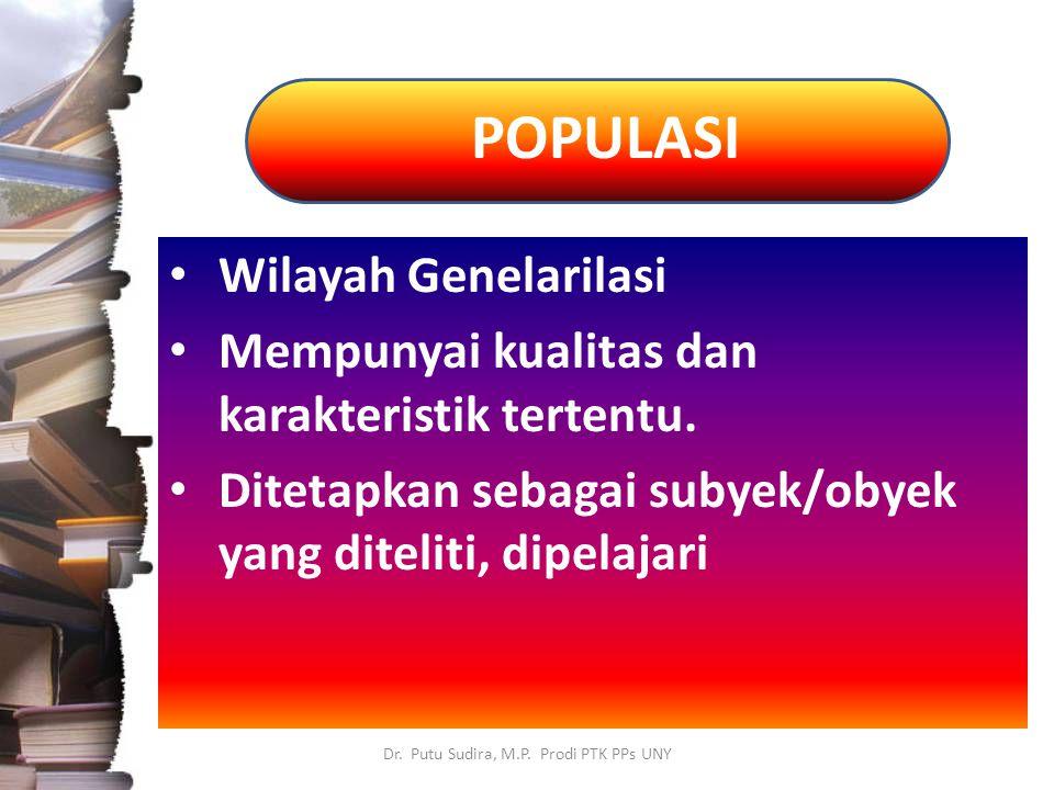 POPULASI Dr. Putu Sudira, M.P. Prodi PTK PPs UNY Wilayah Genelarilasi Mempunyai kualitas dan karakteristik tertentu. Ditetapkan sebagai subyek/obyek y