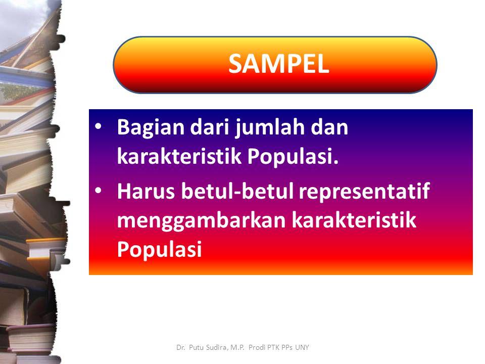 SAMPEL Dr. Putu Sudira, M.P. Prodi PTK PPs UNY Bagian dari jumlah dan karakteristik Populasi. Harus betul-betul representatif menggambarkan karakteris