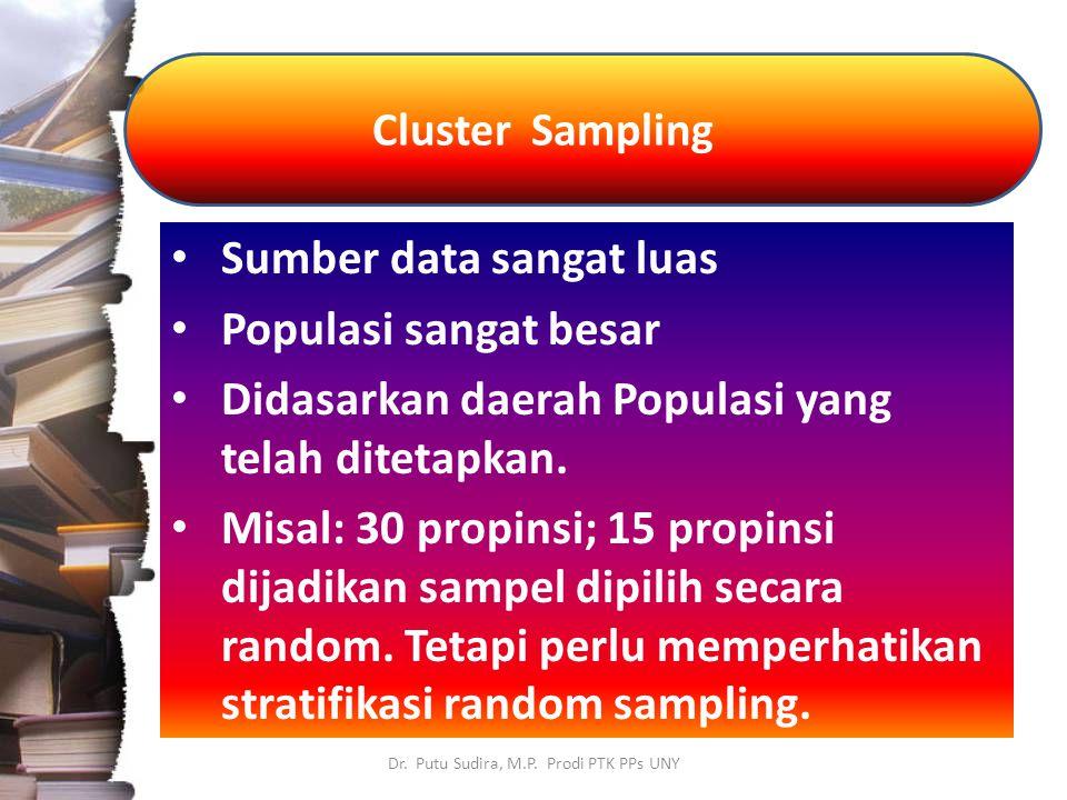 Cluster Sampling Dr. Putu Sudira, M.P. Prodi PTK PPs UNY Sumber data sangat luas Populasi sangat besar Didasarkan daerah Populasi yang telah ditetapka