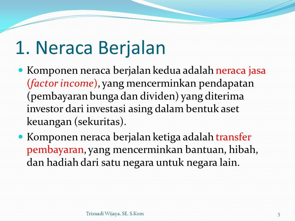 1. Neraca Berjalan Komponen neraca berjalan kedua adalah neraca jasa (factor income), yang mencerminkan pendapatan (pembayaran bunga dan dividen) yang