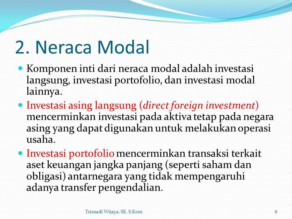 2. Neraca Modal Komponen inti dari neraca modal adalah investasi langsung, investasi portofolio, dan investasi modal lainnya. Investasi asing langsung