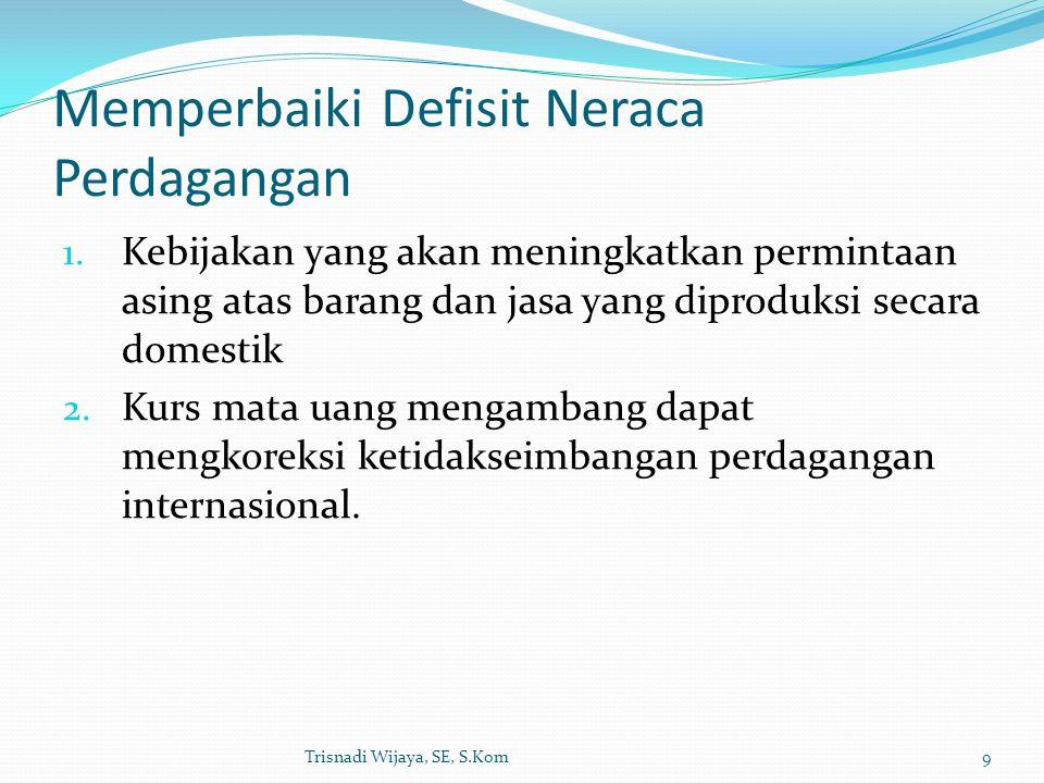 Memperbaiki Defisit Neraca Perdagangan 1. Kebijakan yang akan meningkatkan permintaan asing atas barang dan jasa yang diproduksi secara domestik 2. Ku