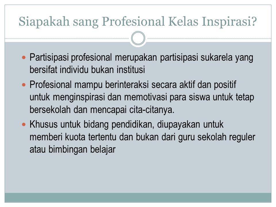 Partisipasi profesional merupakan partisipasi sukarela yang bersifat individu bukan institusi Profesional mampu berinteraksi secara aktif dan positif untuk menginspirasi dan memotivasi para siswa untuk tetap bersekolah dan mencapai cita-citanya.