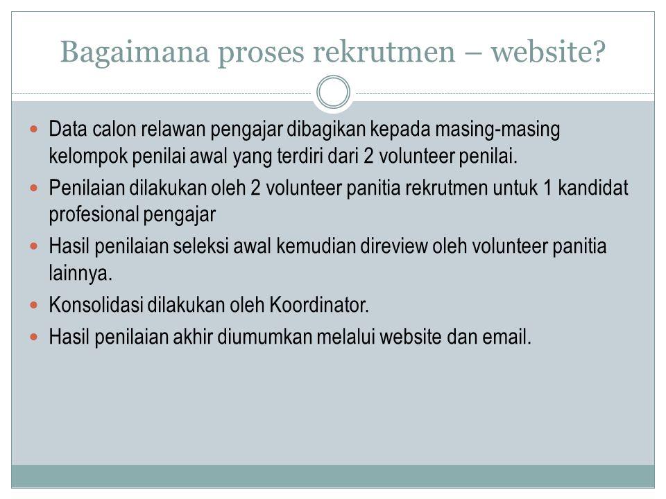 Bagaimana proses rekrutmen – website? Data calon relawan pengajar dibagikan kepada masing-masing kelompok penilai awal yang terdiri dari 2 volunteer p