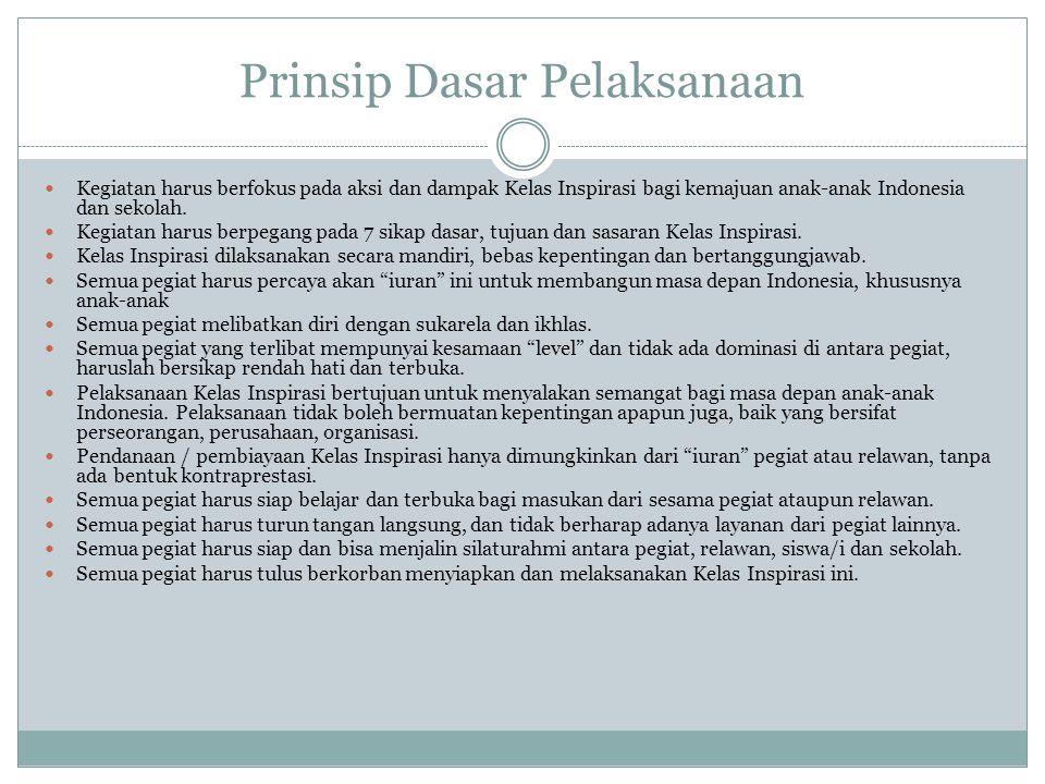 Prinsip Dasar Pelaksanaan Kegiatan harus berfokus pada aksi dan dampak Kelas Inspirasi bagi kemajuan anak-anak Indonesia dan sekolah. Kegiatan harus b