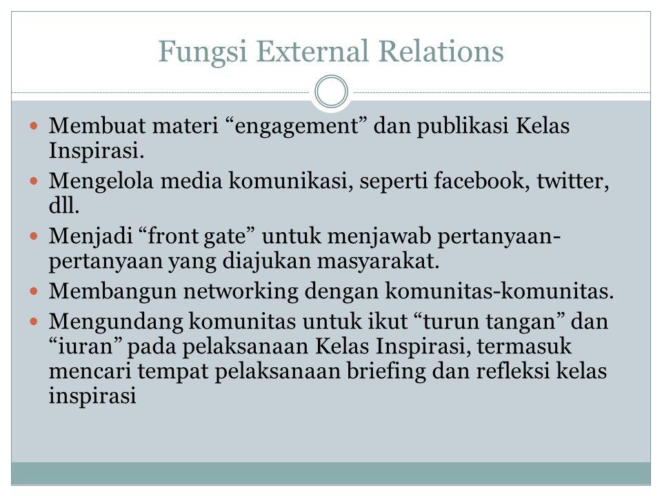 """Fungsi External Relations Membuat materi """"engagement"""" dan publikasi Kelas Inspirasi. Mengelola media komunikasi, seperti facebook, twitter, dll. Menja"""