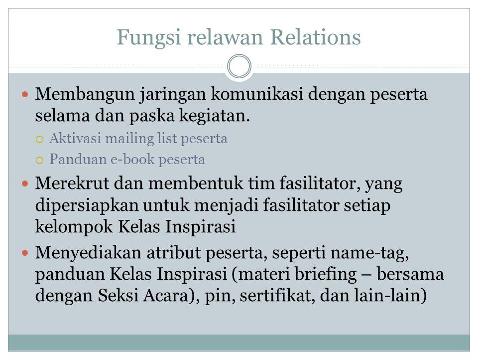 Fungsi relawan Relations Membangun jaringan komunikasi dengan peserta selama dan paska kegiatan.  Aktivasi mailing list peserta  Panduan e-book pese