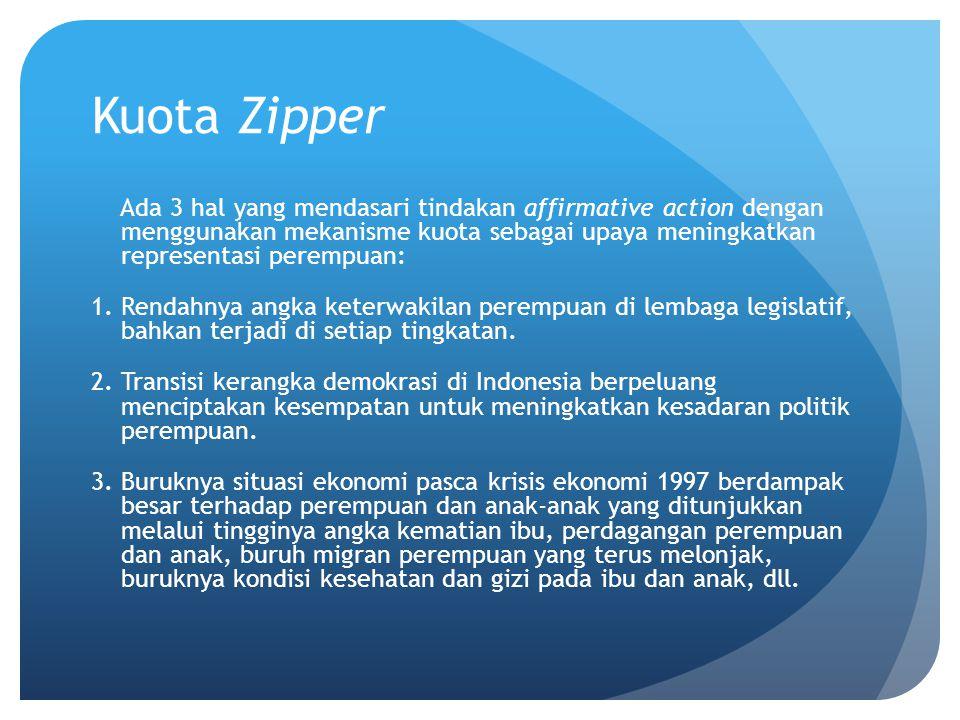 Kuota Zipper Ada 3 hal yang mendasari tindakan affirmative action dengan menggunakan mekanisme kuota sebagai upaya meningkatkan representasi perempuan