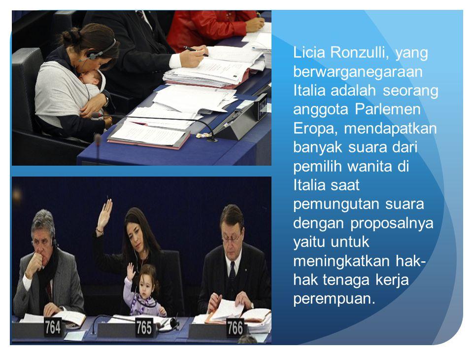 Licia Ronzulli, yang berwarganegaraan Italia adalah seorang anggota Parlemen Eropa, mendapatkan banyak suara dari pemilih wanita di Italia saat pemung