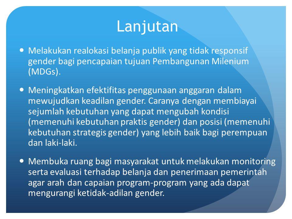 Lanjutan Melakukan realokasi belanja publik yang tidak responsif gender bagi pencapaian tujuan Pembangunan Milenium (MDGs). Meningkatkan efektifitas p