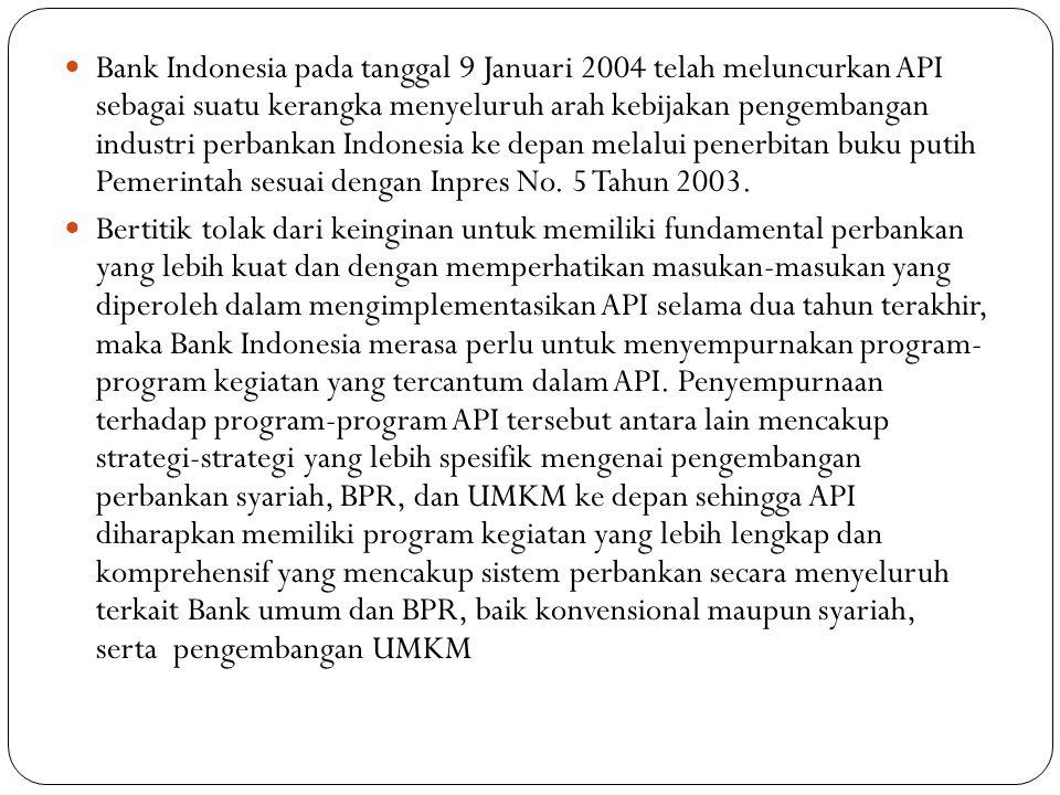 Bank Indonesia pada tanggal 9 Januari 2004 telah meluncurkan API sebagai suatu kerangka menyeluruh arah kebijakan pengembangan industri perbankan Indo