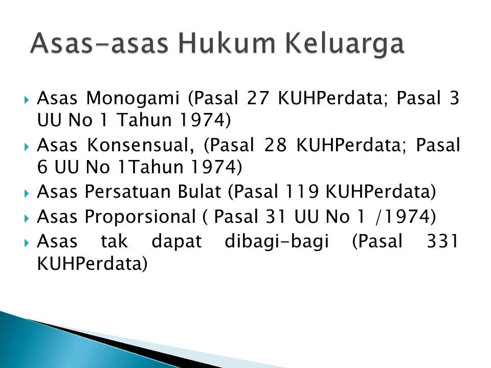  Asas Monogami (Pasal 27 KUHPerdata; Pasal 3 UU No 1 Tahun 1974)  Asas Konsensual, (Pasal 28 KUHPerdata; Pasal 6 UU No 1Tahun 1974)  Asas Persatuan