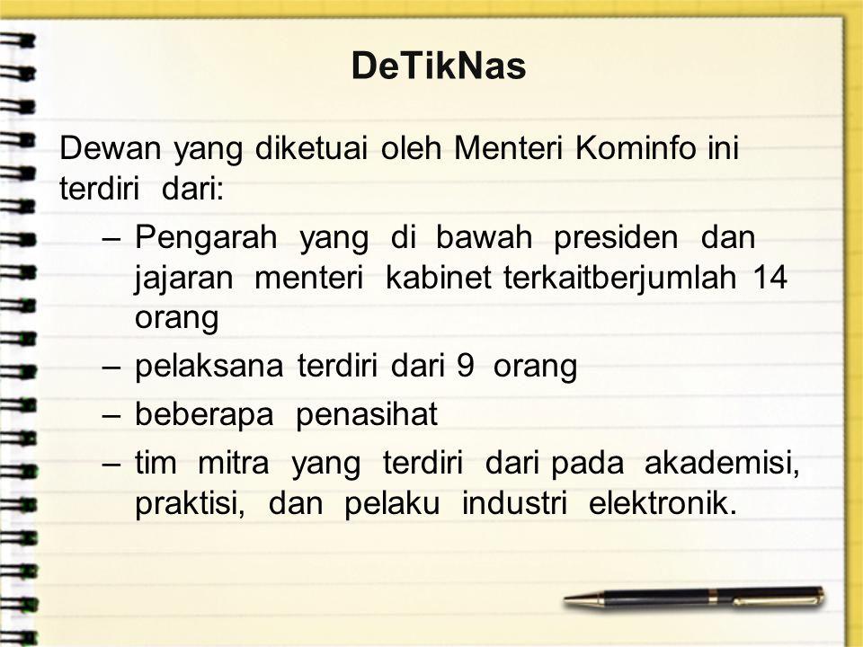 DeTikNas Dewan yang diketuai oleh Menteri Kominfo ini terdiri dari: –Pengarah yang di bawah presiden dan jajaran menteri kabinet terkaitberjumlah 14 o