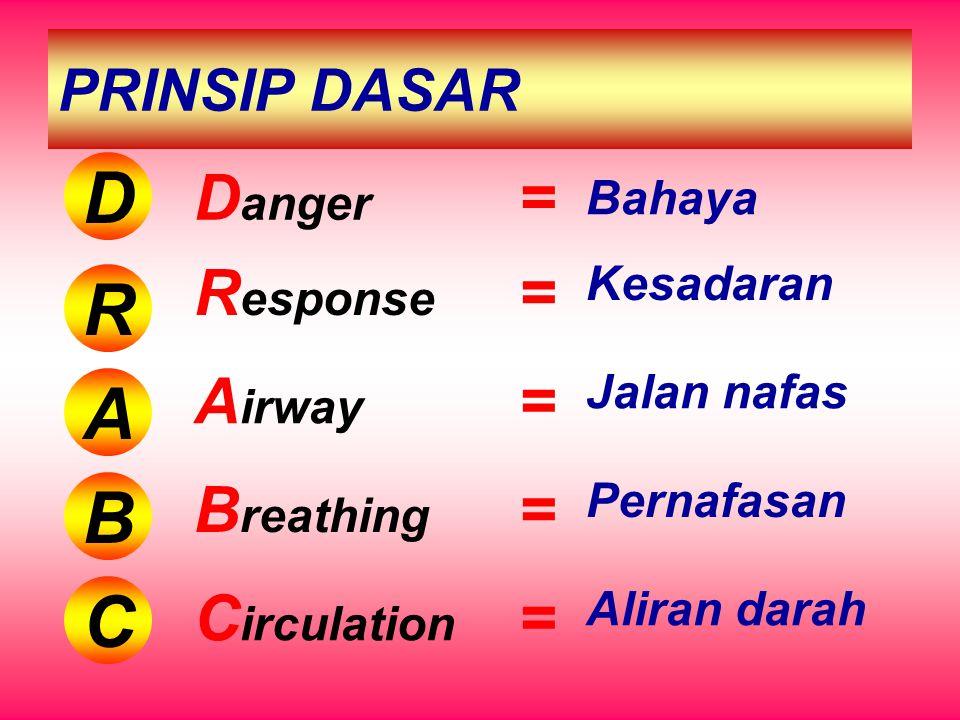 PRINSIP DASAR D R A B C D anger = Bahaya R esponse = Kesadaran A irway = Jalan nafas B reathing = Pernafasan C irculation = Aliran darah