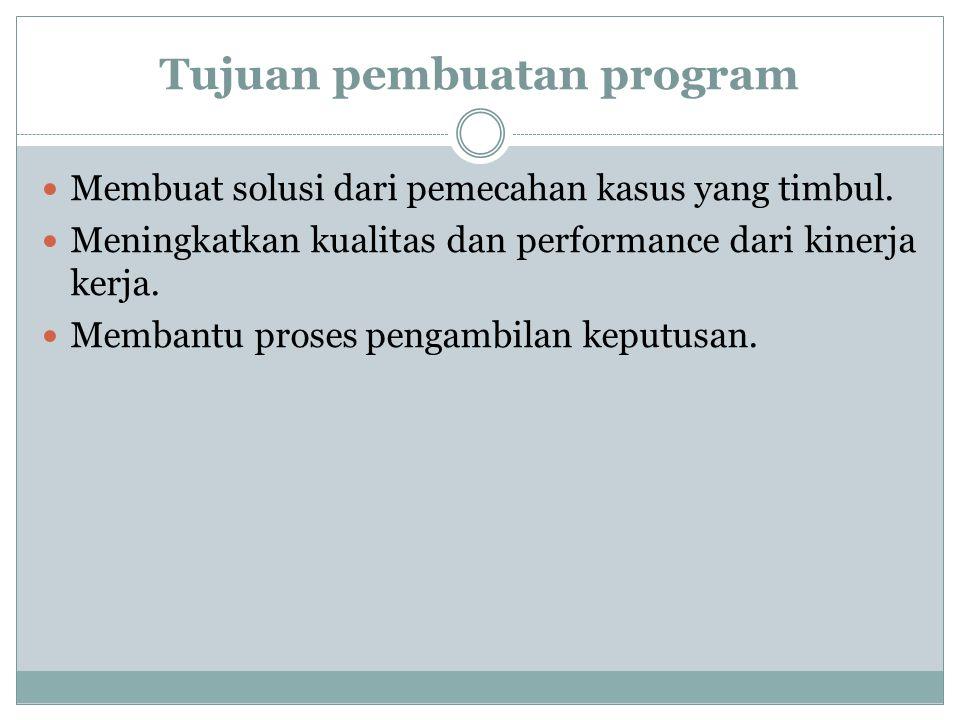 Tujuan pembuatan program Membuat solusi dari pemecahan kasus yang timbul. Meningkatkan kualitas dan performance dari kinerja kerja. Membantu proses pe