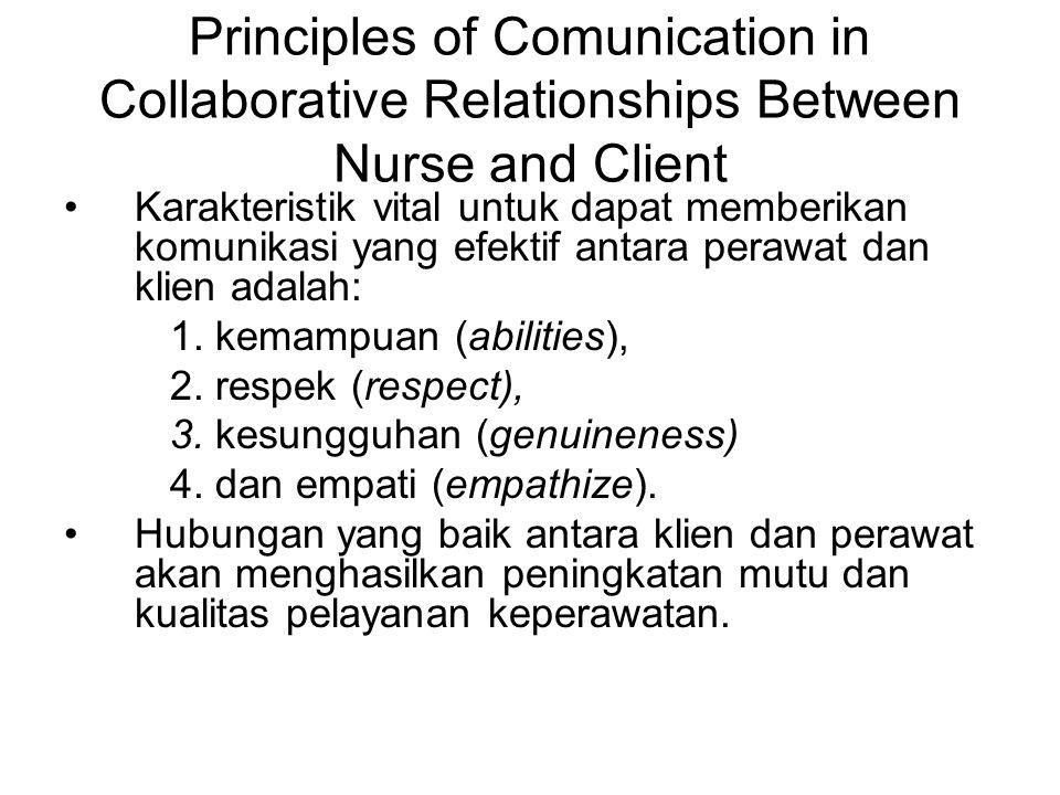 Principles of Comunication in Collaborative Relationships Between Nurse and Client Karakteristik vital untuk dapat memberikan komunikasi yang efektif antara perawat dan klien adalah: 1.