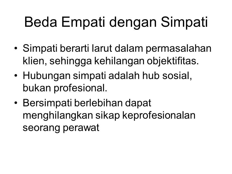 Beda Empati dengan Simpati Simpati berarti larut dalam permasalahan klien, sehingga kehilangan objektifitas. Hubungan simpati adalah hub sosial, bukan