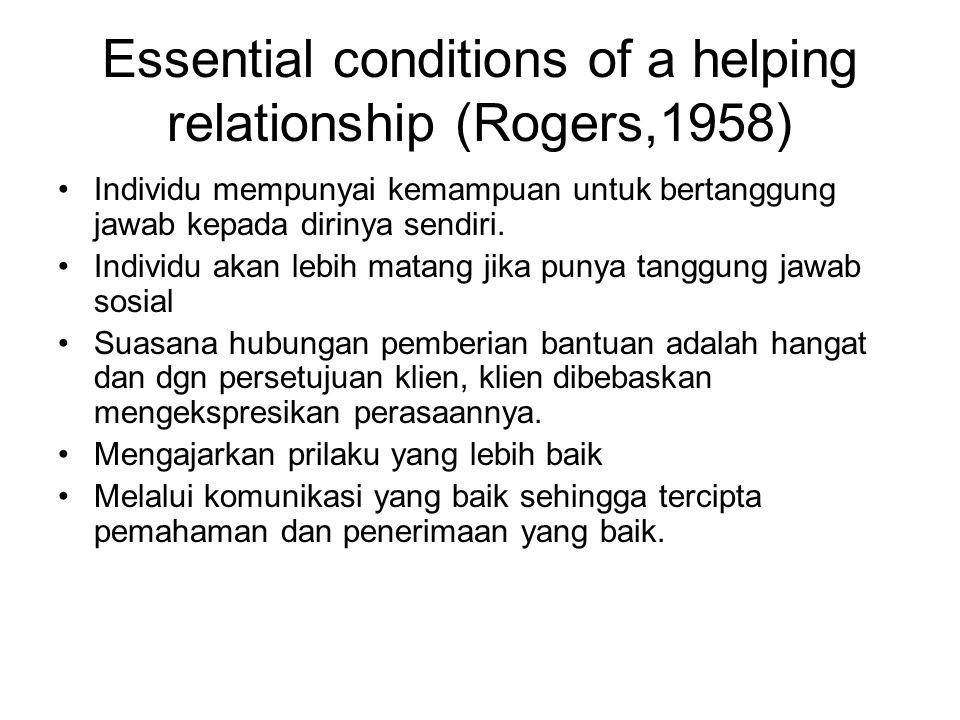 Essential conditions of a helping relationship (Rogers,1958) Individu mempunyai kemampuan untuk bertanggung jawab kepada dirinya sendiri. Individu aka