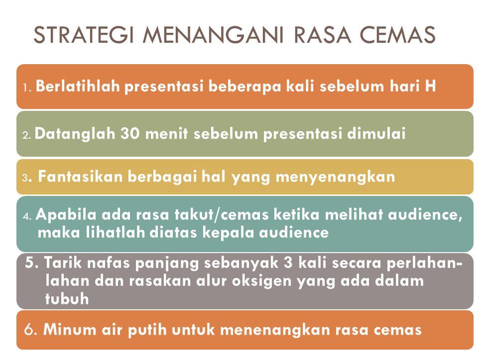 1. Berlatihlah presentasi beberapa kali sebelum hari H 2. Datanglah 30 menit sebelum presentasi dimulai 3. Fantasikan berbagai hal yang menyenangkan 4