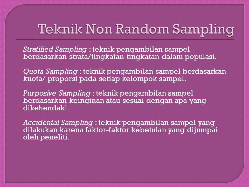  Stratified Sampling : teknik pengambilan sampel berdasarkan strata/tingkatan-tingkatan dalam populasi.