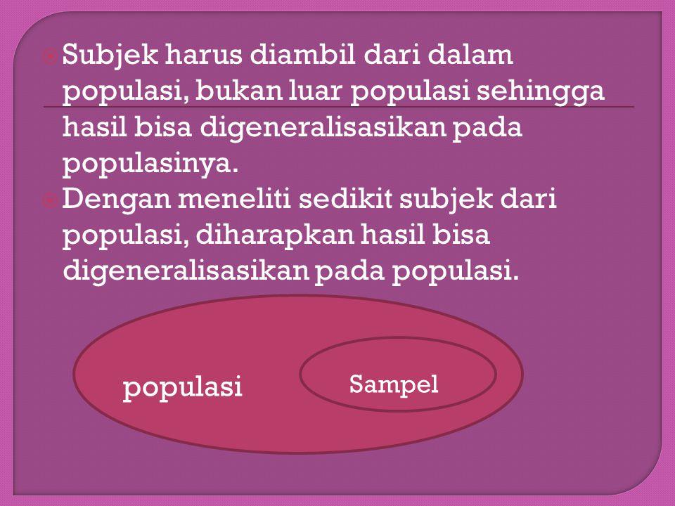  Subjek harus diambil dari dalam populasi, bukan luar populasi sehingga hasil bisa digeneralisasikan pada populasinya.