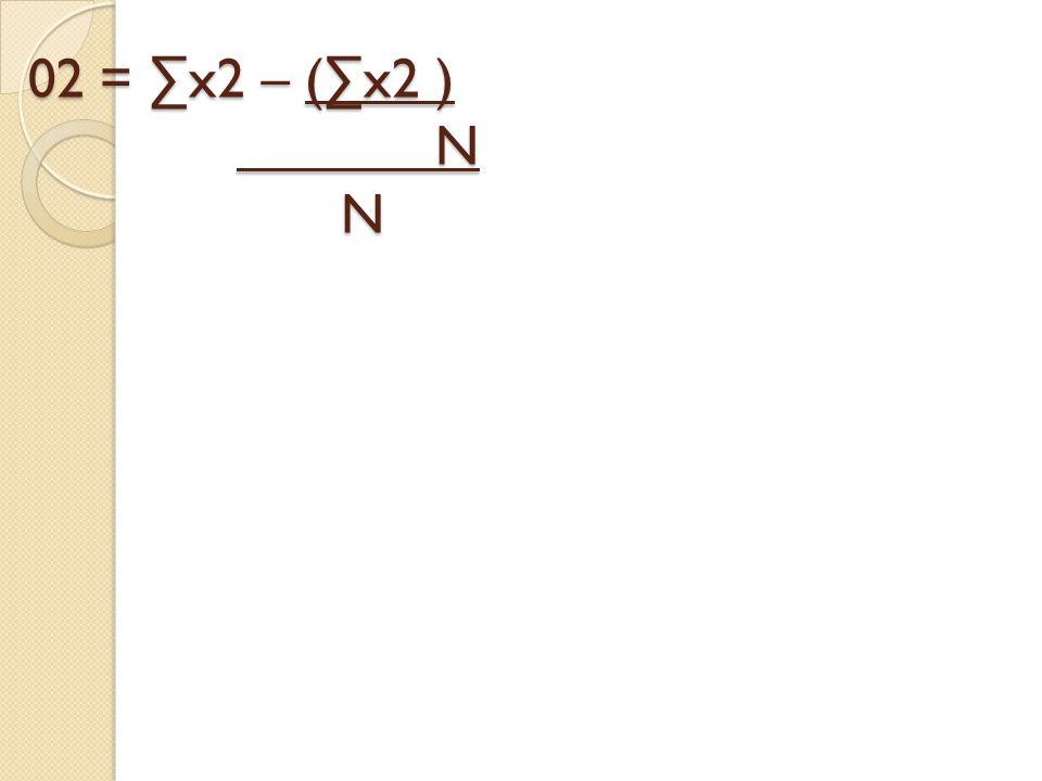02 = ∑x2 – (∑x2 ) N N