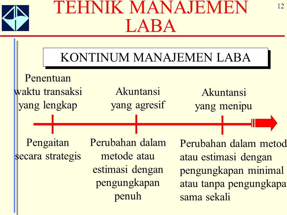 12 TEHNIK MANAJEMEN LABA KONTINUM MANAJEMEN LABA Penentuan waktu transaksi yang lengkap Pengaitan secara strategis Akuntansi yang agresif Perubahan da