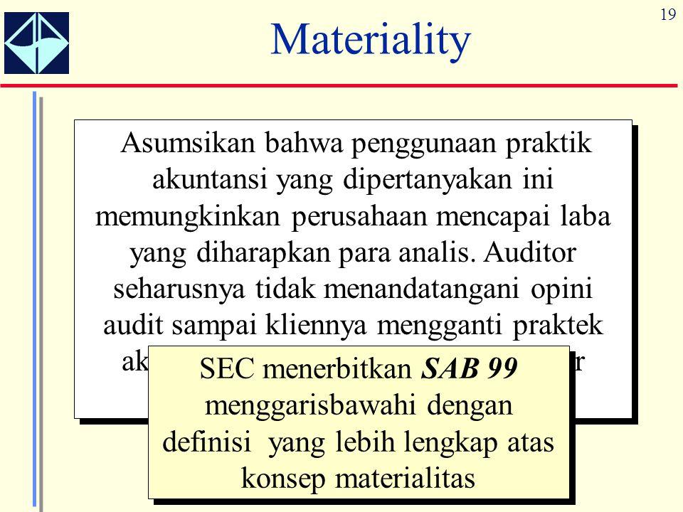 19 Materiality Asumsikan bahwa penggunaan praktik akuntansi yang dipertanyakan ini memungkinkan perusahaan mencapai laba yang diharapkan para analis.