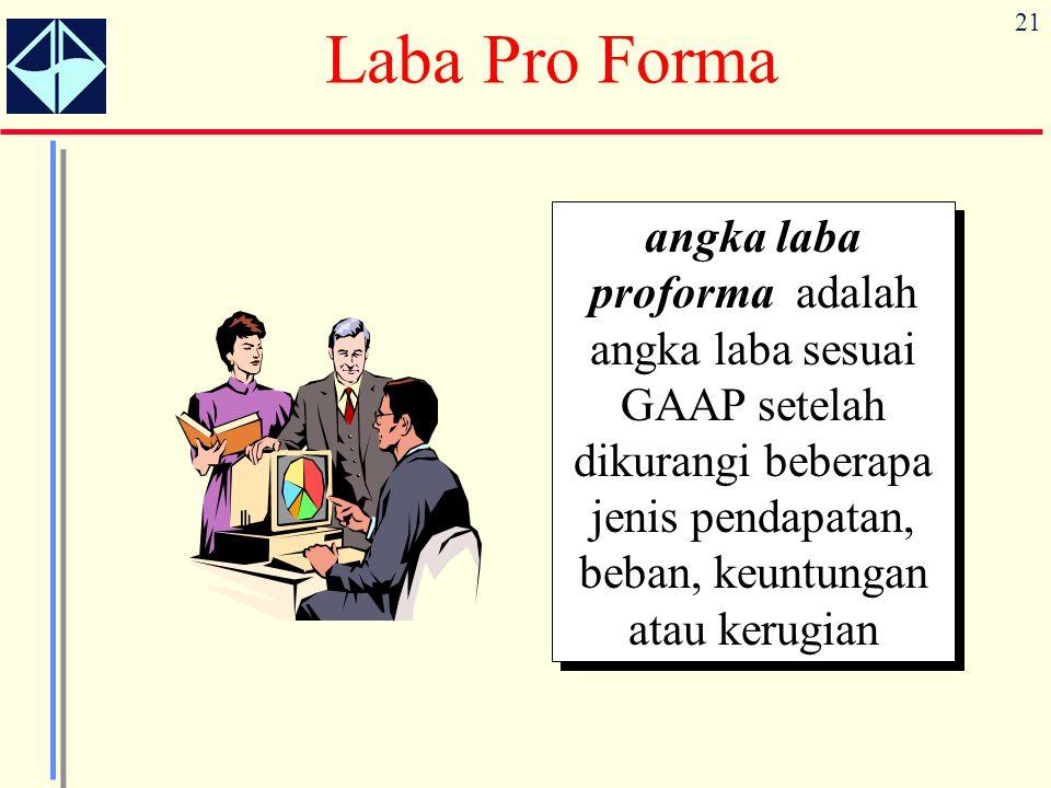 21 Laba Pro Forma angka laba proforma adalah angka laba sesuai GAAP setelah dikurangi beberapa jenis pendapatan, beban, keuntungan atau kerugian