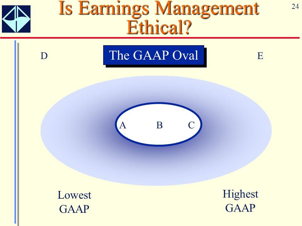 24 Is Earnings Management Ethical? A B C Lowest GAAP Highest GAAP DE The GAAP Oval
