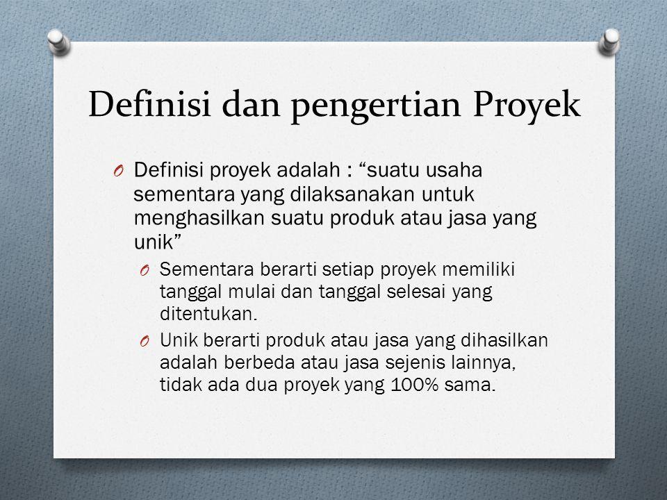 Definisi dan pengertian Proyek O Definisi proyek adalah : suatu usaha sementara yang dilaksanakan untuk menghasilkan suatu produk atau jasa yang unik O Sementara berarti setiap proyek memiliki tanggal mulai dan tanggal selesai yang ditentukan.