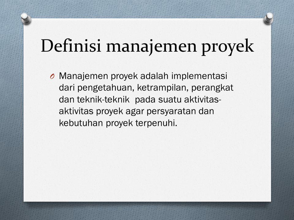 Definisi manajemen proyek O Manajemen proyek adalah implementasi dari pengetahuan, ketrampilan, perangkat dan teknik-teknik pada suatu aktivitas- aktivitas proyek agar persyaratan dan kebutuhan proyek terpenuhi.