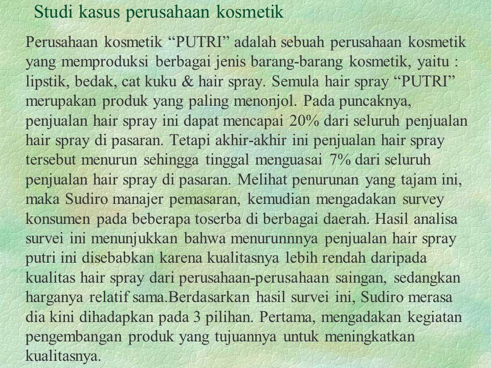 Kedua, meneruskan penjualan hair spray tanpa peruabahan apapun dan ketiga, menghentikan produksi hair spray seluruhnya.