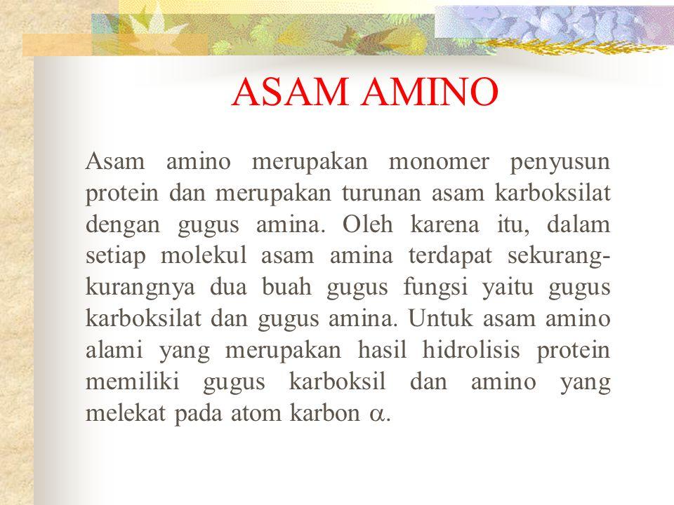 ASAM AMINO Asam amino merupakan monomer penyusun protein dan merupakan turunan asam karboksilat dengan gugus amina. Oleh karena itu, dalam setiap mole
