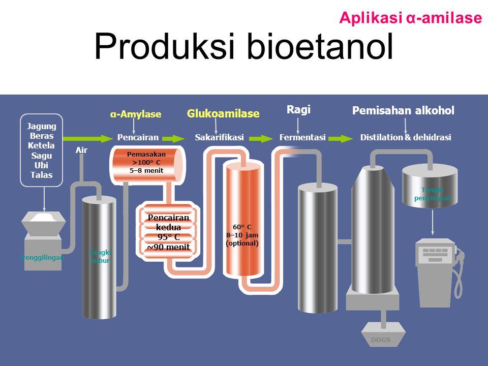 Produksi bioetanol Aplikasi α-amilase Penggilingan Tangki bubur Air Pencairan α-Amylase Glukoamilase Ragi Pemisahan alkohol SakarifikasiFermentasi Dis