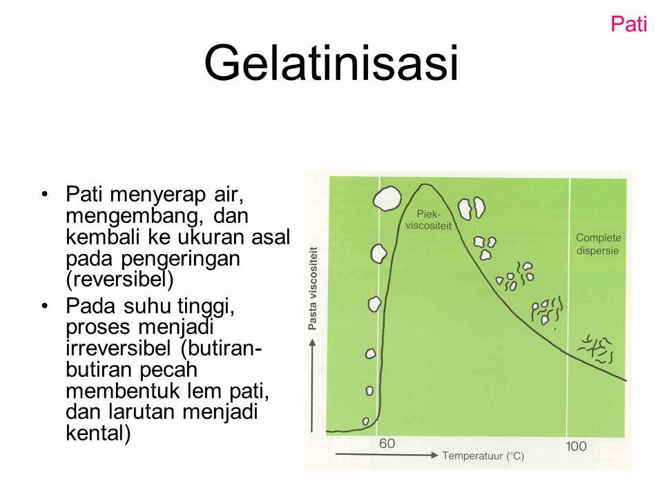 Gelatinisasi Pati menyerap air, mengembang, dan kembali ke ukuran asal pada pengeringan (reversibel) Pada suhu tinggi, proses menjadi irreversibel (bu